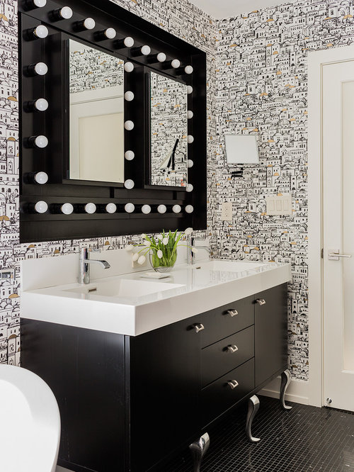 double sink with vanity in middle. inspiration for a large transitional master black tile and mosaic floor double sink with vanity in middle