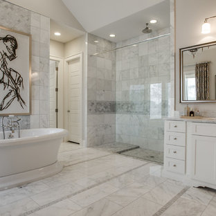 Inspiration for a transitional master gray tile bathroom remodel in Dallas with shaker cabinets, white cabinets and gray walls