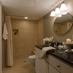 75 most popular bathroom and cloakroom with beige tiles