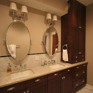 Alcove shower - large traditional master white tile and stone tile marble floor alcove shower idea in Chicago with an undermount sink, shaker cabinets, dark wood cabinets, engineered quartz countertops, a two-piece toilet and beige walls
