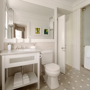 Inspiration for a mid-sized timeless 3/4 porcelain floor and multicolored floor alcove shower remodel in Chicago with an undermount sink, open cabinets, white cabinets, a two-piece toilet and gray walls