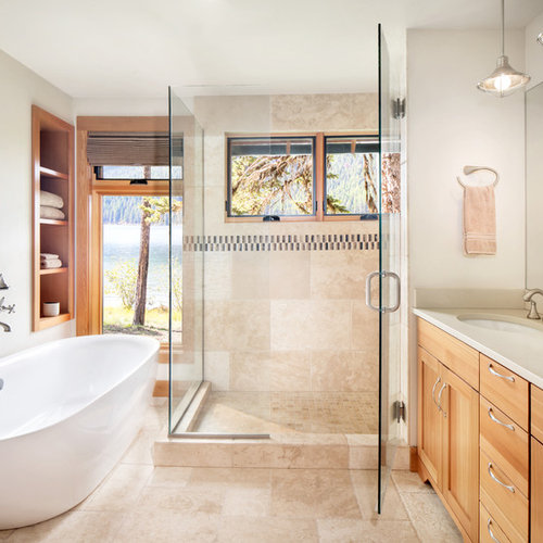 Inspiration For A Rustic Beige Tile Beige Floor Bathroom Remodel In Other  With Shaker Cabinets,