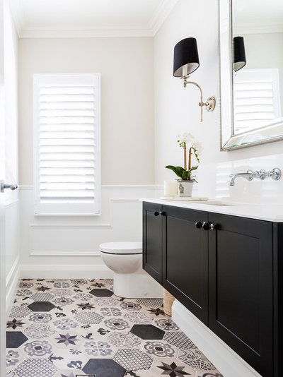Transitional Bathroom by Audrey Lewis Interiors