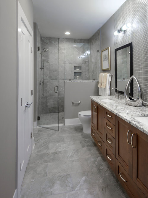 Gray Bathroom Design Ideas Remodels Photos With Brown Cabinets