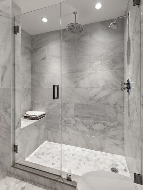 transitional gray tile and white tile mosaic tile floor alcove shower photo in new york with - Transitional Bathroom Ideas