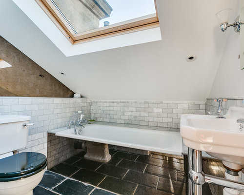 This Is An Example Of A Small Contemporary Shower Room In London With White  Tiles,