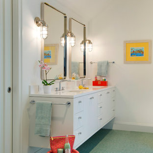 Trendy mosaic tile floor and green floor bathroom photo in Minneapolis with flat-panel cabinets, white cabinets, white walls and an undermount sink