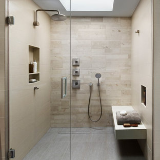 Inspiration For A Modern Beige Tile And Porcelain Tile Porcelain Floor And  Gray Floor Bathroom Remodel