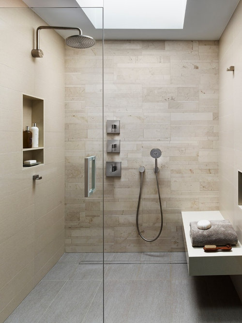 Inspiration For A Modern Bathroom Remodel In Philadelphia With Beige Tile Porcelain Floors Beige