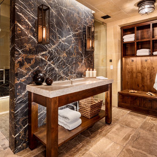 Inspiration for a large rustic master beige tile beige floor bathroom remodel in Milwaukee with beige walls and granite countertops