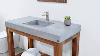Lodge Series Vanity in Walnut and Gray Concrete