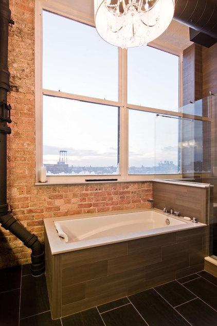 Industrial Bathroom by Besch Design, Ltd.
