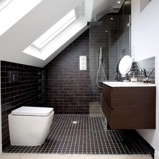 This Is An Example Of A Contemporary Bathroom In London With Flat Panel Cabinets