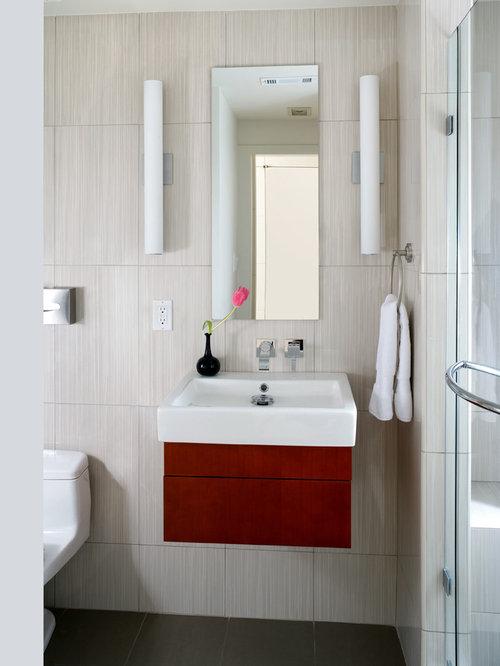 bathroom vanity side lights. Example of a trendy beige tile and ceramic black floor alcove shower  design in DC Vanity Side Light Houzz
