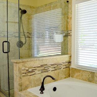Salle de bain à petit budget avec un mur jaune : Photos et idées ...