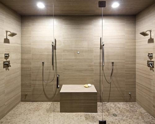 Sandstone tile bathroom