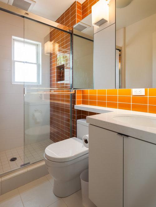 Brown bathroom design ideas remodels photos with orange for Orange and brown bathroom ideas