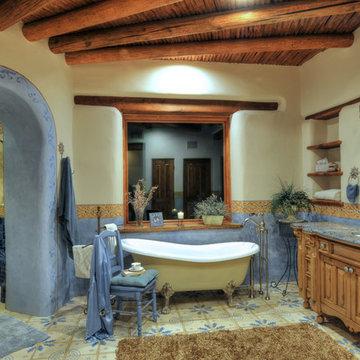 Loma Bella Drive master bath at night