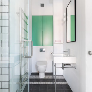 Inspiration for a scandinavian ceramic tile mosaic tile floor and multicolored floor bathroom remodel in London with a console sink, white walls and a one-piece toilet