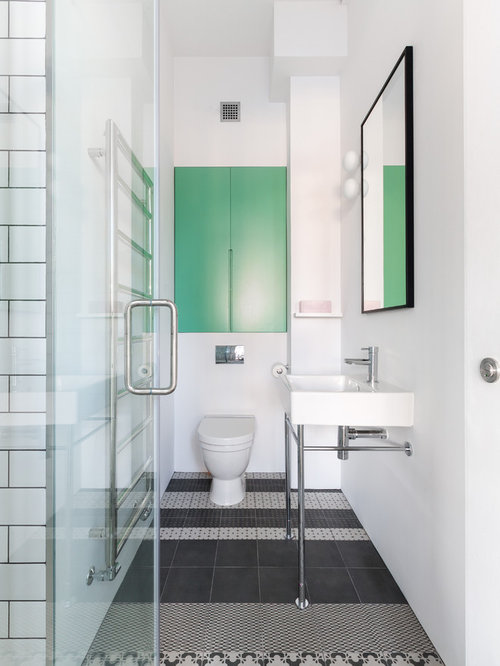 Design Ideas For A Scandinavian Bathroom In London With A Console Sink,  Ceramic Tiles,
