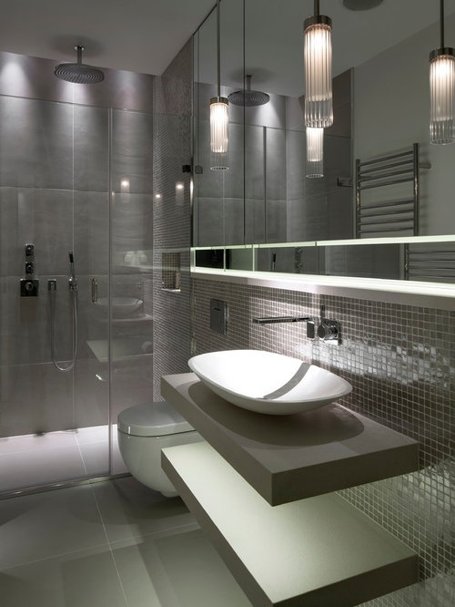 Inspiration For A Contemporary And Modern Shower Room In London With A  Vessel Sink, Open