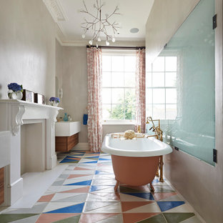Bathroom - contemporary multicolored floor bathroom idea in London