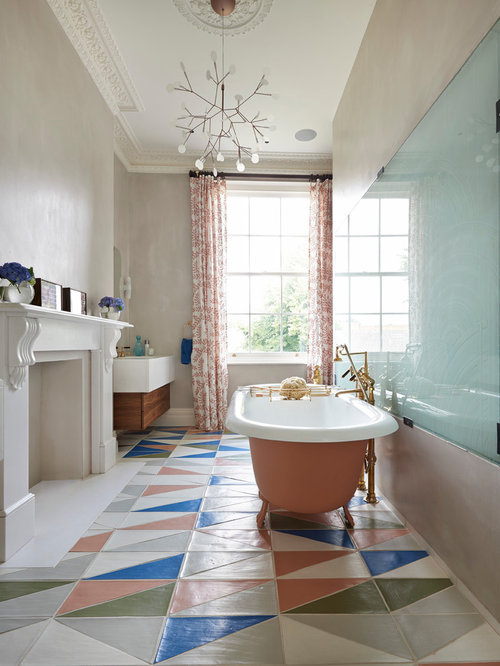 Attirant Bathroom   Contemporary Multicolored Floor Bathroom Idea In London