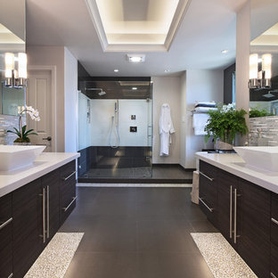 Trendy master walk-in shower photo in Orange County with a vessel sink