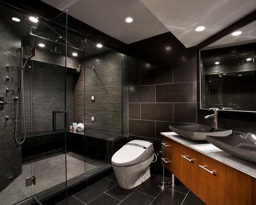 Contemporary Black Floor Bathroom Idea In New York With A Vessel Sink And  Black Walls