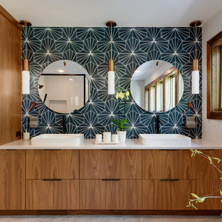 Large 1950s master blue tile and porcelain tile porcelain floor, gray floor and double-sink bathroom photo in Minneapolis with flat-panel cabinets, dark wood cabinets, a two-piece toilet, white walls, an undermount sink, quartzite countertops, a hinged shower door, white countertops and a freestanding vanity