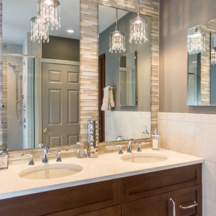 Bathroom - mid-sized transitional master multicolored tile and glass tile bathroom idea in Boston & Bling Bathroom Ideas | Houzz