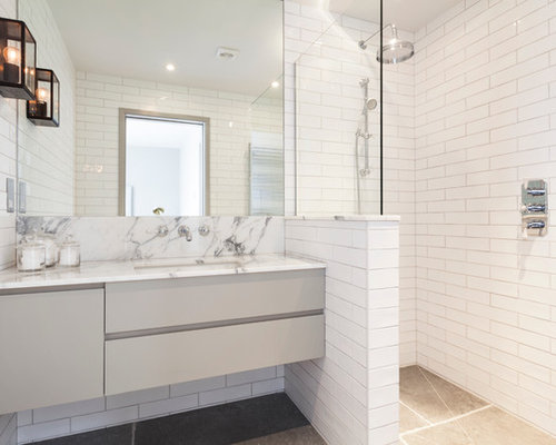 Mid Sized Trendy White Tile And Subway Corner Shower Photo In London With An