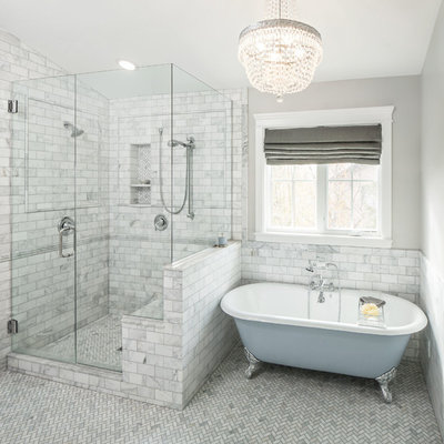 Inspiration for a timeless white tile and stone tile bathroom remodel in Salt Lake City with a niche