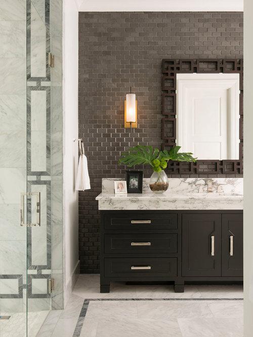 Mediterrane badezimmer mit metrofliesen ideen design bilder houzz - Mediterranes badezimmer ...