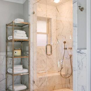 Elegant white tile and marble tile marble floor alcove shower photo in San Francisco