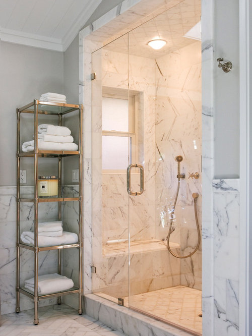 Carrara Marble Bathroom Designs. Elegant White Tile And Marble Floor Alcove  Shower Photo In San