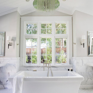 Inspiration for a timeless freestanding bathtub remodel in San Francisco