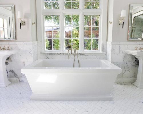 Bathroom sink design ideas - Herringbone Marble Floor Home Design Ideas Pictures