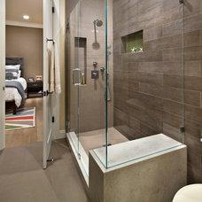 Transitional Bathroom by Allwood Construction Inc