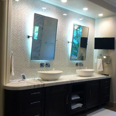 Transitional Bathroom by Allwood Construction Inc