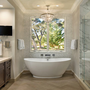 Inspiration for a transitional white tile bathroom remodel in San Francisco with recessed-panel cabinets and dark wood cabinets