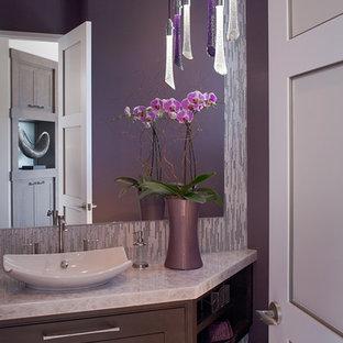 Immagine di una piccola stanza da bagno con doccia design con ante marroni, pareti viola, pavimento con piastrelle in ceramica, lavabo a bacinella e top in granito