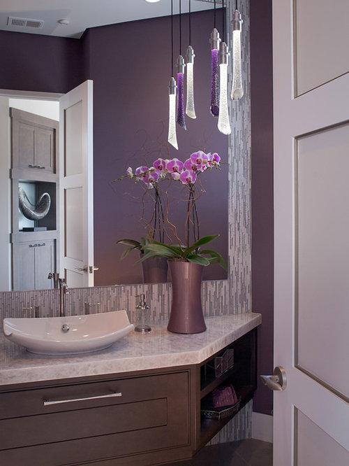 Purple and brown bathroom