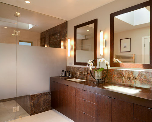 Inspiration For A Contemporary Brown Tile Walk In Shower Remodel In San  Francisco With An