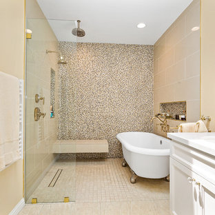 Example of a transitional master mosaic tile beige floor bathroom design in Los Angeles with beaded inset cabinets, white cabinets, beige walls, an undermount sink and white countertops