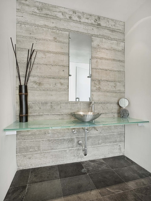 Board form concrete wall houzz - Laminate tiles for bathroom walls ...