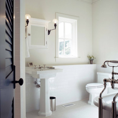 Inspiration for a timeless subway tile bathroom remodel in Atlanta with a pedestal sink