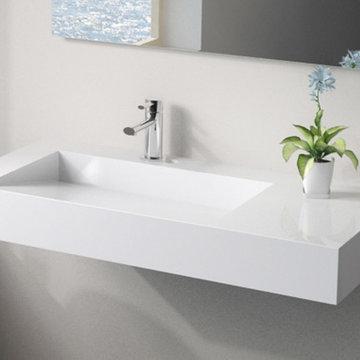 Low Profile Modern Stone Resin Wall Mounted Sink - WT-04