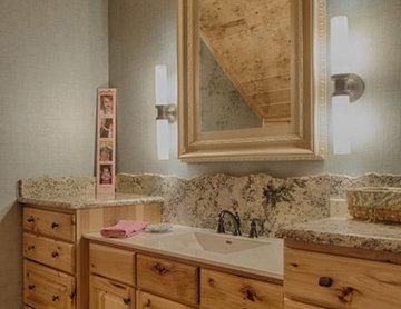 Lowered vanity for kids bathroom Golden Eagle log Homes Lakehouse 4166AL
