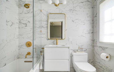 Bathroom Tour: Tile and Brass Update a Tiny Bath in Minneapolis